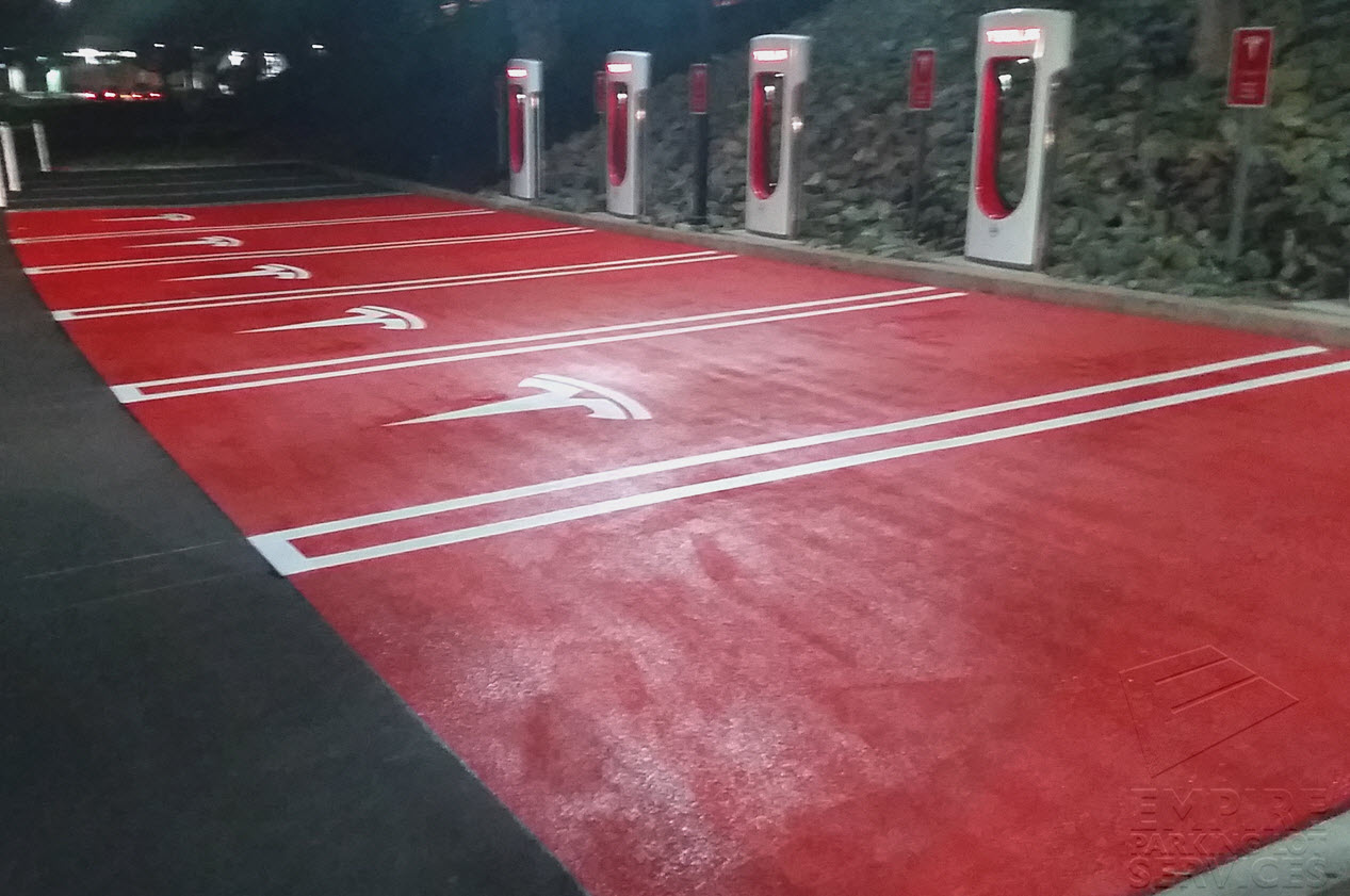 Parking Lot Striping For Tesla Charging Station In Culver
