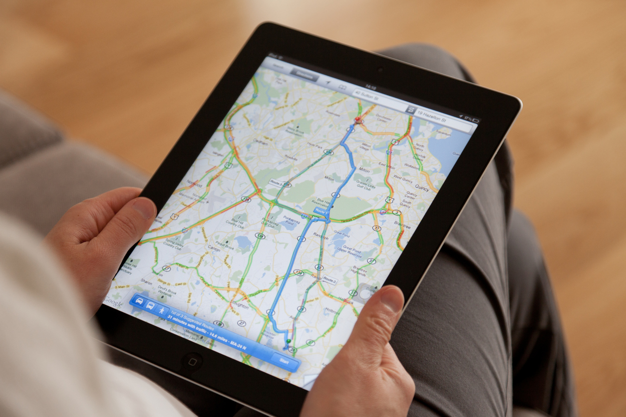 searching for asphalt company on google maps using tablet