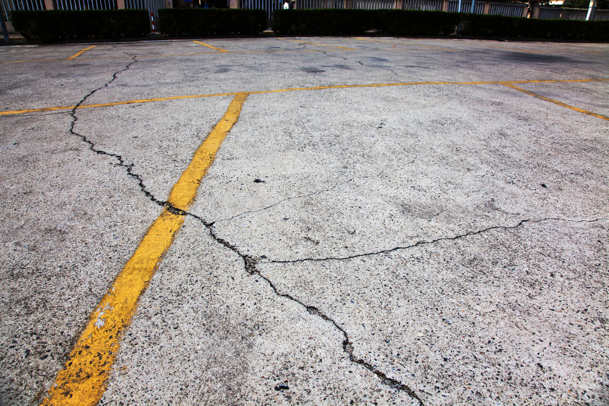 cracks in parking lot