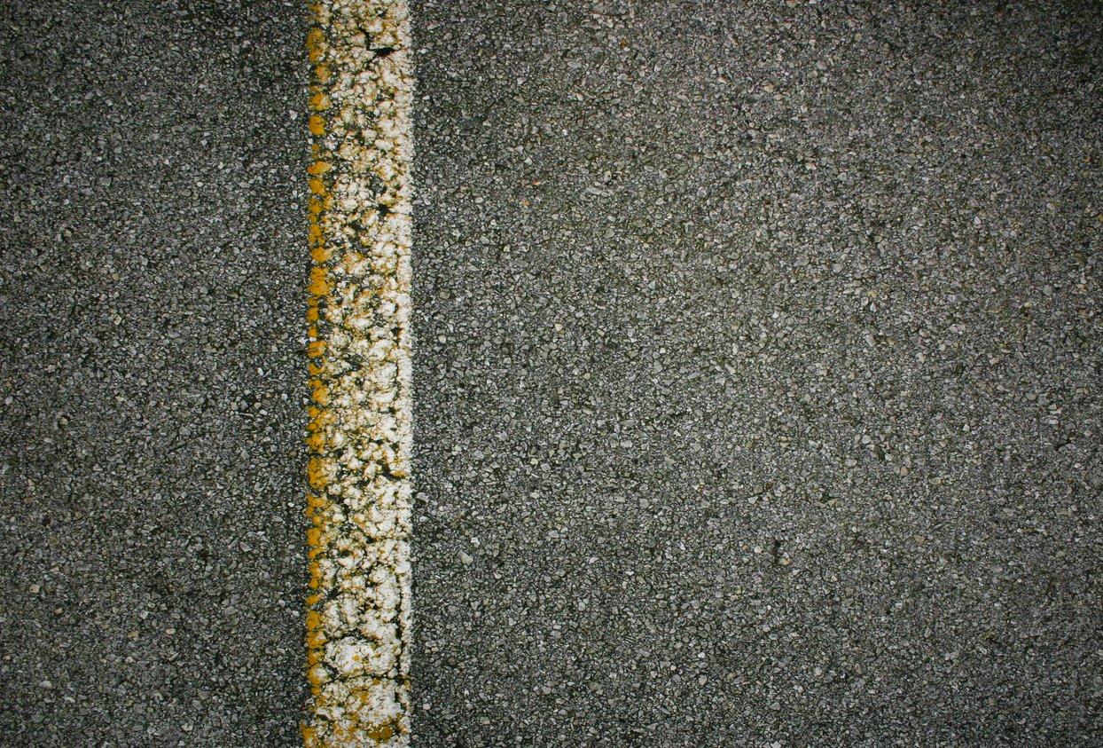 worn down stripe in parking lot